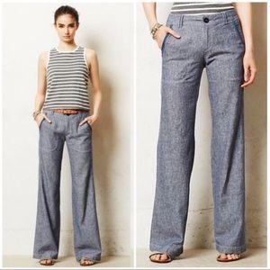 Pilcro & the Letterpress Wide Leg Blue Linen Pants